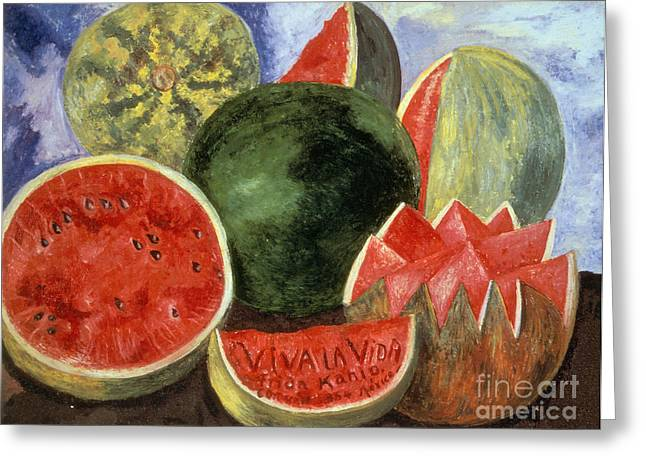 Recently Sold -  - Watermelon Greeting Cards - Kahlo: Viva La Vida, 1954 Greeting Card by Granger