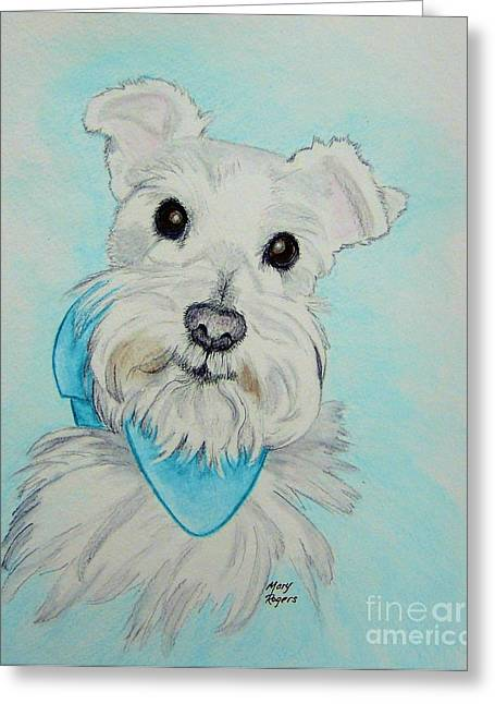 White Terrier Mixed Media Greeting Cards - Kaja Greeting Card by Mary Rogers