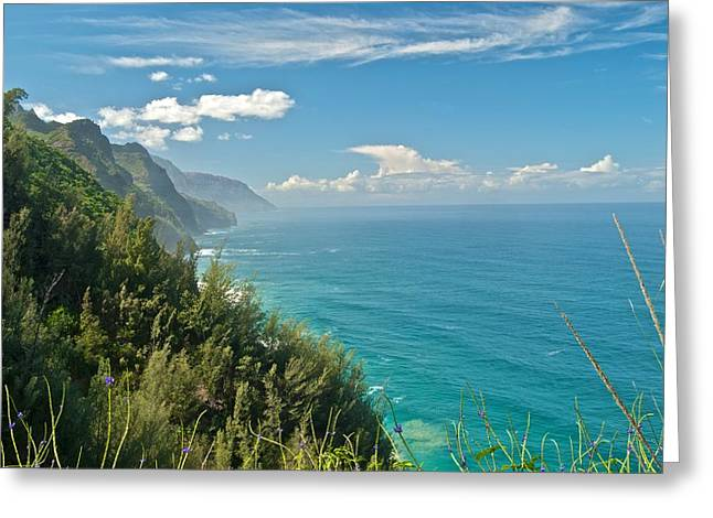 Recently Sold -  - Ocean Vista Greeting Cards - Kalalau Trail Overlook Greeting Card by Michael Peychich