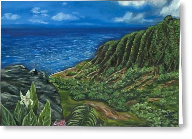 Kalalau Valley Greeting Card by Brandon Hebb