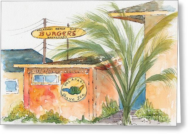 Hamburger Paintings Greeting Cards - Kalapaki Beach Hut Greeting Card by Pat Katz