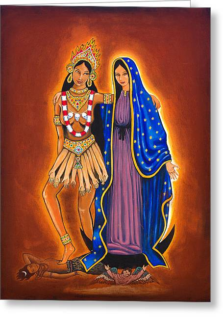 Goddess Kali Greeting Cards - Kali and the Virgin Greeting Card by James Roderick