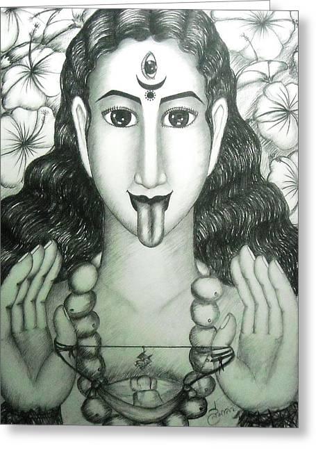 Hindu Goddess Greeting Cards - Kali god Greeting Card by Sri Mala
