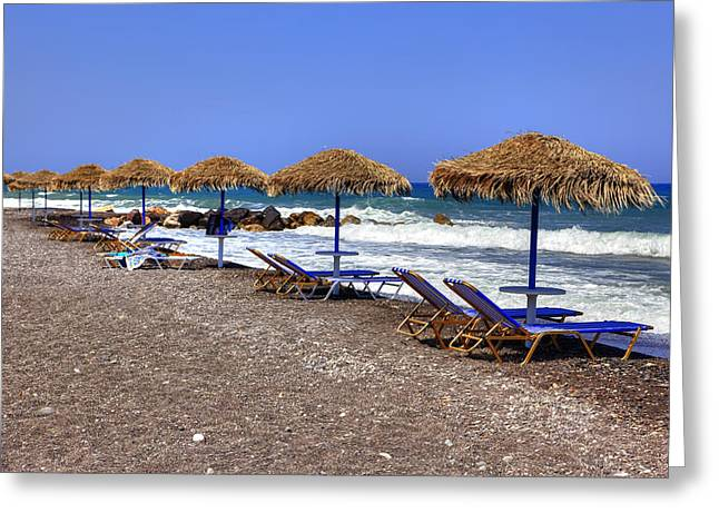 Deck Chairs Greeting Cards - Kamari - Santorini Greeting Card by Joana Kruse