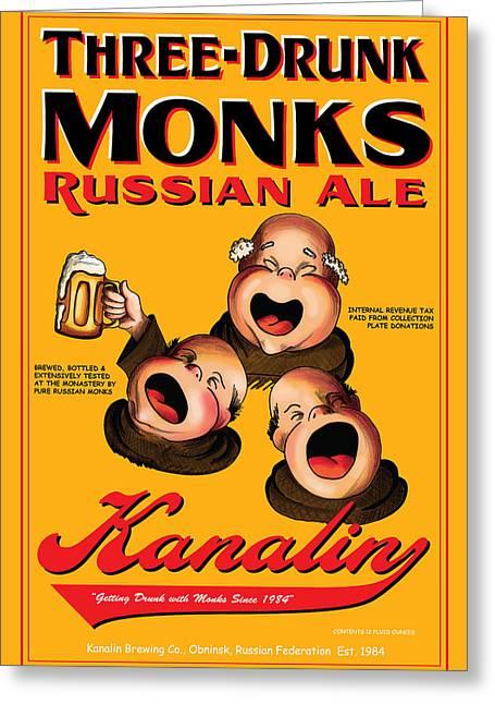 Stein Drawings Greeting Cards - Kanalin Three Drunk Monks Greeting Card by John OBrien