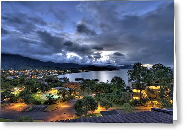 Hawaii Greeting Cards - Kaneohe Bay Night HDR Greeting Card by Dan McManus