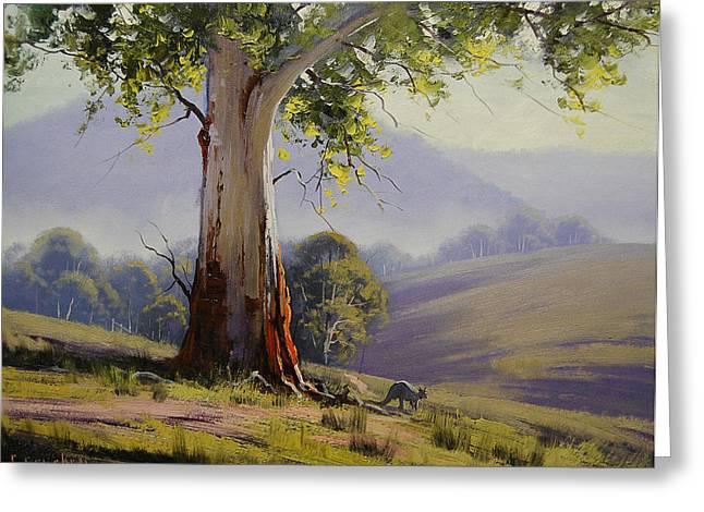 Gum-tree Greeting Cards - Kangaroo and Gums Greeting Card by Graham Gercken