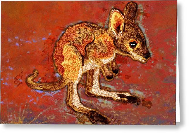 Kangaroo Digital Greeting Cards - Kangaroo Joey Greeting Card by Mary Ogle