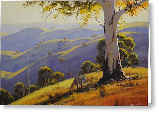 Gum-tree Greeting Cards - Kangaroo with Gum Greeting Card by Graham Gercken