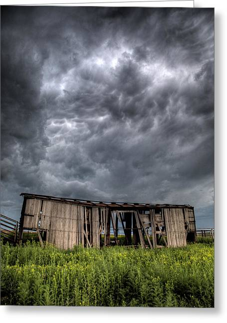 Boxcars Greeting Cards - Kansas Boxcar Storm Greeting Card by Thomas Zimmerman