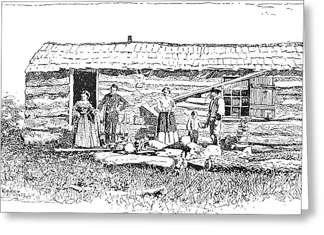 Abolition Greeting Cards - Kansas: Early House, 1854 Greeting Card by Granger
