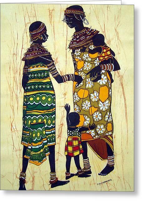 Mother Tapestries - Textiles Greeting Cards - Karamojong Mothers Greeting Card by Joseph Kalinda