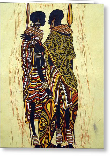 Embrace Tapestries - Textiles Greeting Cards - Karamojong Warriors Embracing Greeting Card by Joseph Kalinda