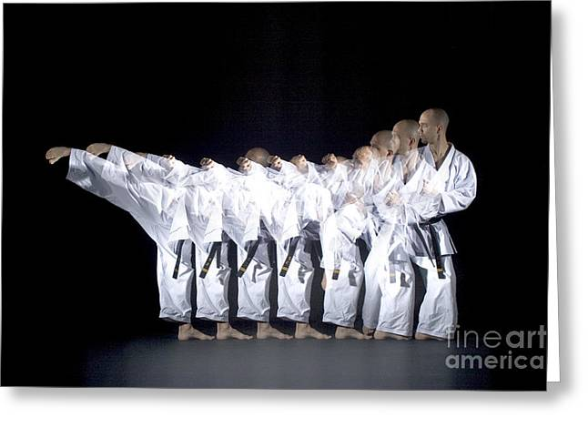 Stroboscopic Images Greeting Cards - Karate Expert Greeting Card by Ted Kinsman