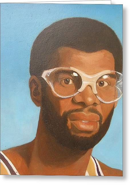 Lakers Paintings Greeting Cards - Kareem Greeting Card by Nigel Wynter