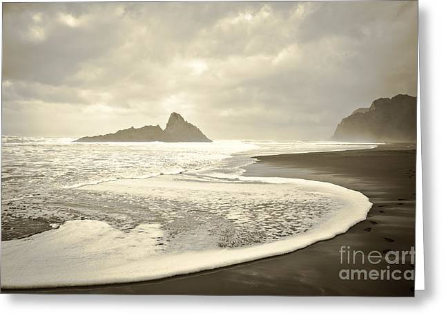 Sardinelly Greeting Cards - Karekare Beach in New Zealand Greeting Card by Yurix Sardinelly