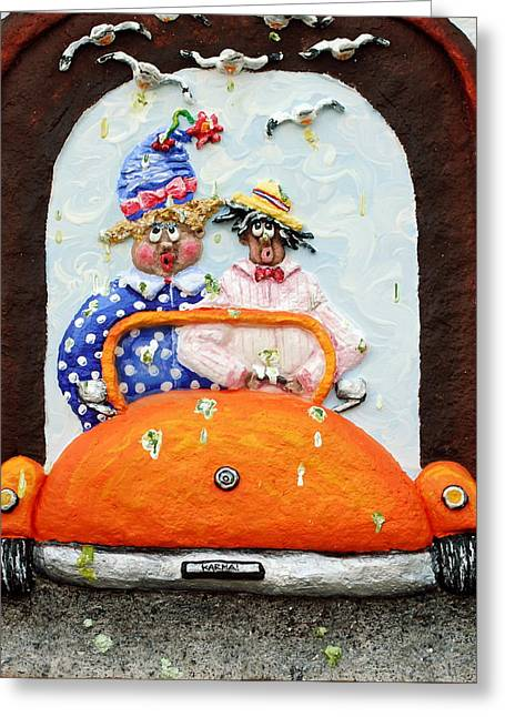 Transportation Reliefs Greeting Cards - Karma Greeting Card by Alison  Galvan
