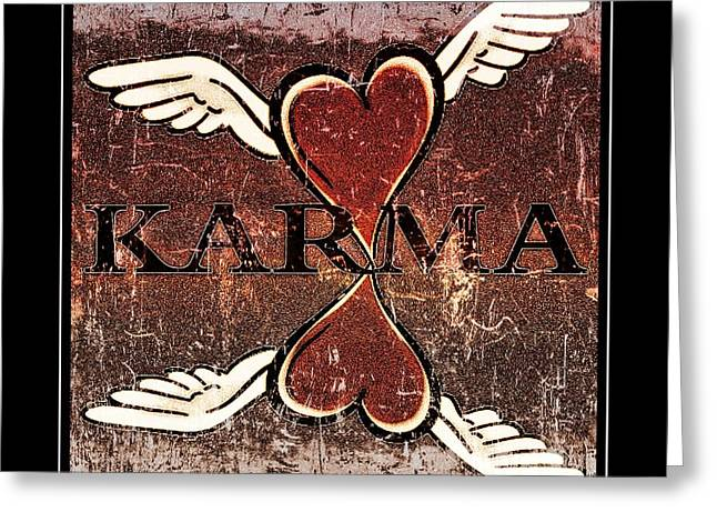 Wings Greeting Cards - Karma Give Love Greeting Card by Tisha McGee