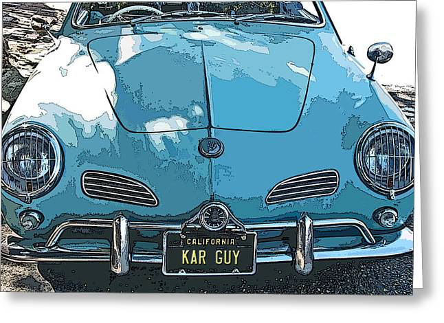Samuel Sheats Greeting Cards - Karmann Ghia front study Greeting Card by Samuel Sheats