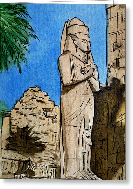 Sketchbook Paintings Greeting Cards - Karnak Temple Egypt Greeting Card by Irina Sztukowski