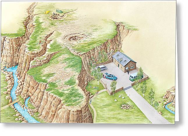 Doline Greeting Cards - Karst Terrain, Artwork Greeting Card by Gary Hincks