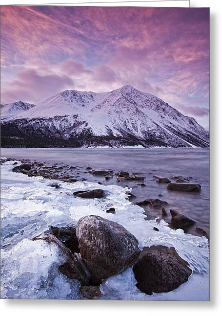 Kathleen Lake At Sunrise, Kluane Greeting Card by Robert Postma