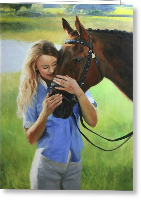 Portrait Greeting Cards - Katie and Bogota Greeting Card by Anna Bain