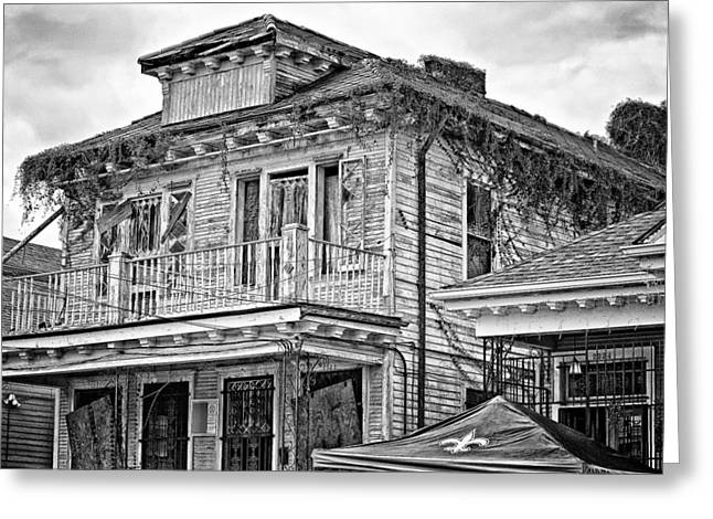 Broken Shutters Greeting Cards - Katrina...Seven Years Later monochrome 2 Greeting Card by Steve Harrington