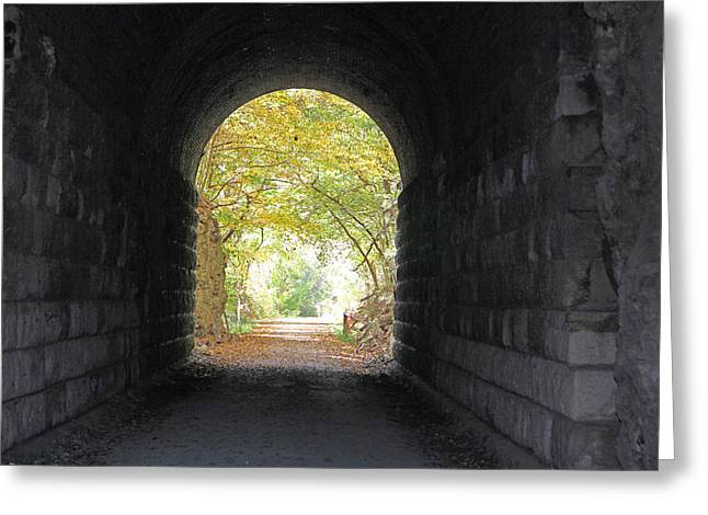 Becky Lodes Greeting Cards - Katy trail train tunnel Greeting Card by Becky Lodes
