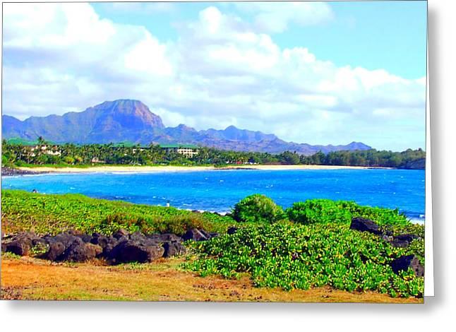 Prussian Blue Greeting Cards - Kauai Beach Greeting Card by Angela Annas