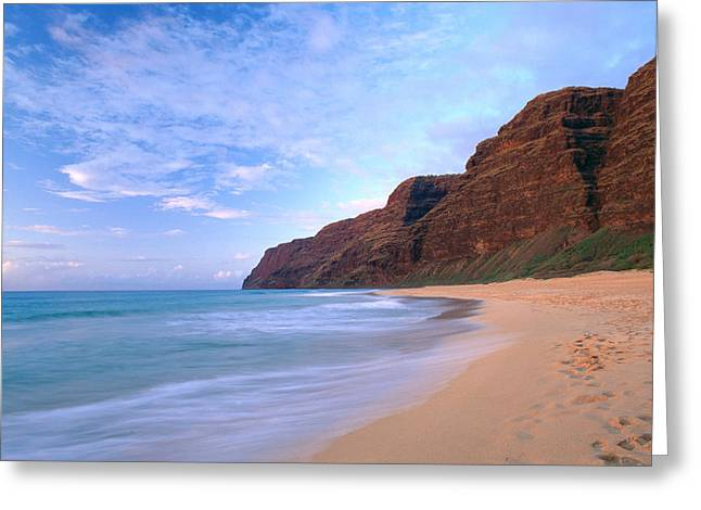 Overcast Day Greeting Cards - Kauai, Polihale Beach Greeting Card by Peter French - Printscapes