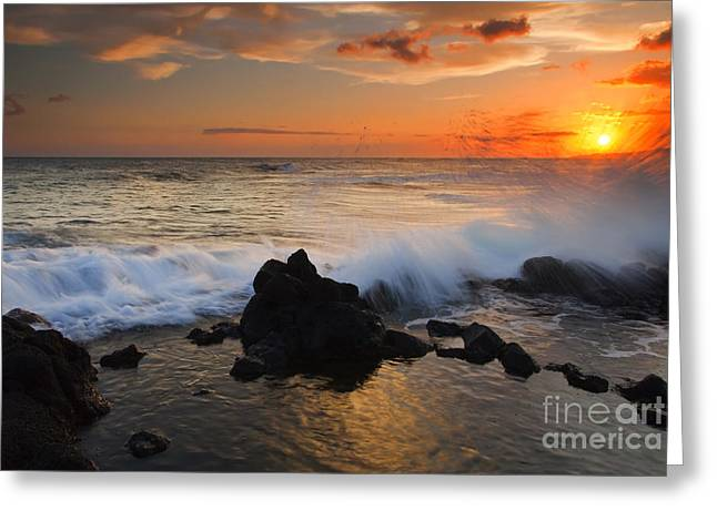 Poipu Greeting Cards - Kauai Sunset Explosion Greeting Card by Mike  Dawson