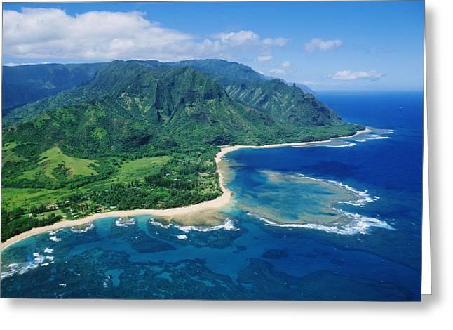 Location Art Greeting Cards - Kauai, Tunnels Beach Greeting Card by Greg Vaughn - Printscapes