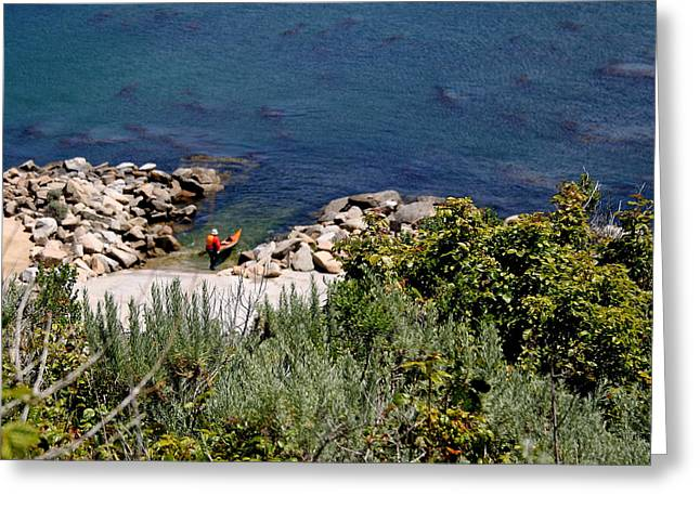 Oak Creek Greeting Cards - Kayak Across from The Mission Greeting Card by PJQandFriends Photography