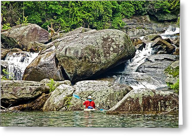 Susan Leggett Greeting Cards - Kayak at the Rapids Greeting Card by Susan Leggett
