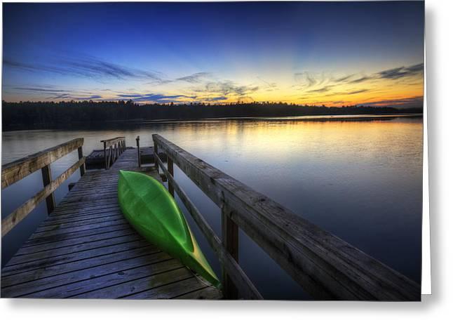 Surfer Art Greeting Cards - Kayak by the Lake Greeting Card by Zarija Pavikevik