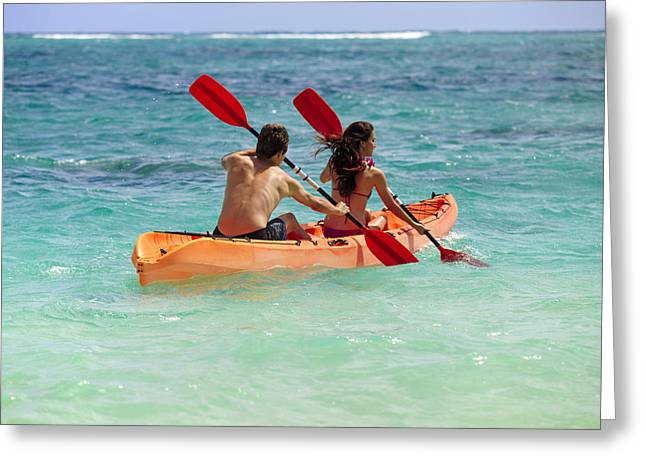Action Sports Art Greeting Cards - Kayak Couple Greeting Card by Tomas del Amo