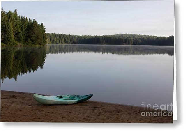Chris Hill Greeting Cards - Kayak on Pog Lake Greeting Card by Chris Hill