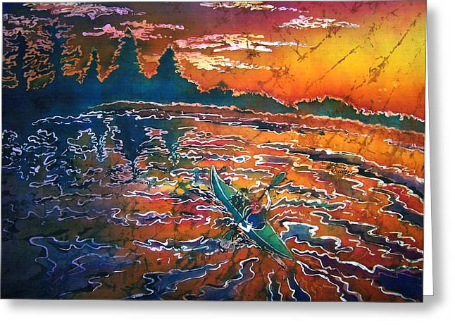 River Tapestries - Textiles Greeting Cards - Kayak Serenity  Greeting Card by Sue Duda