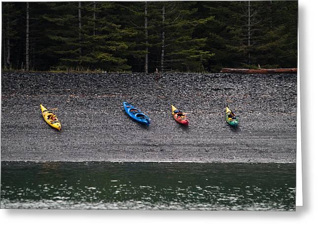Jason Smith Greeting Cards - Kayak Shore Greeting Card by Jason Smith