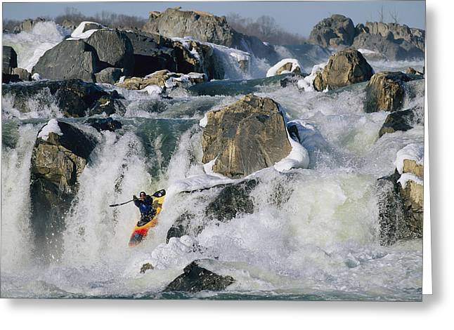 Release Greeting Cards - Kayaker Running Great Falls Greeting Card by Skip Brown