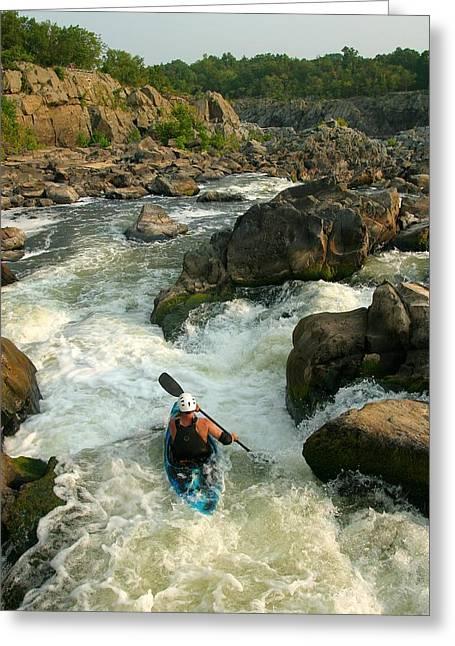 Kayaker Running Waterfalls At Great Greeting Card by Skip Brown