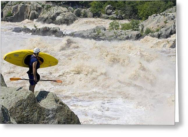 30-35 Years Greeting Cards - Kayaker Scouts Big Whitewater Rapids Greeting Card by Skip Brown