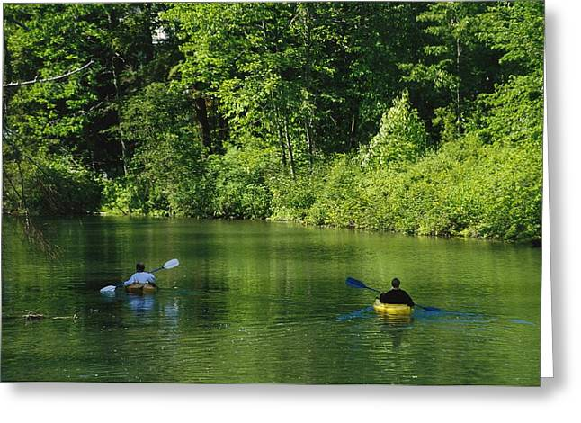 Kayakers Paddle In The Headwaters Greeting Card by Raymond Gehman