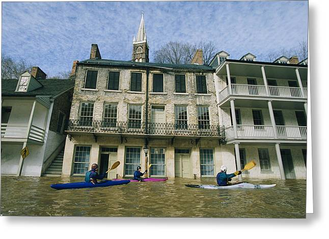 Harpers Ferry Greeting Cards - Kayakers Paddling Through Flooded Greeting Card by Skip Brown