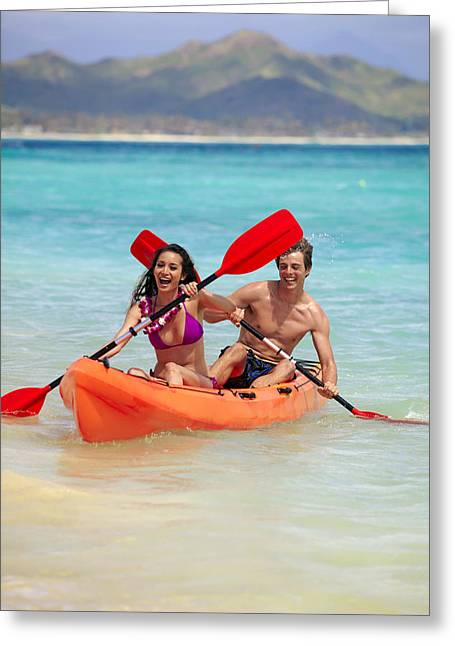 Action Sports Art Greeting Cards - Kayaking Couple II Greeting Card by Tomas del Amo