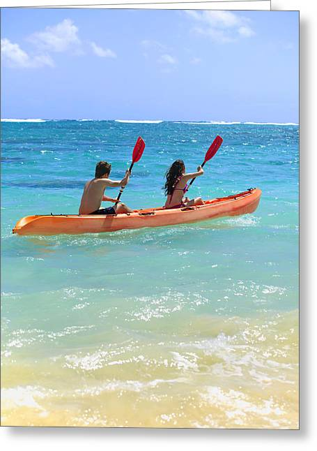 Action Sports Art Greeting Cards - Kayaking Couple Greeting Card by Tomas del Amo