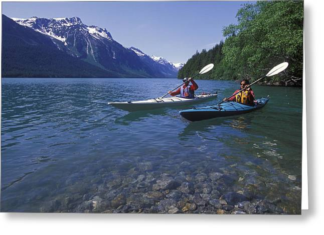 Mid Adult Women Photographs Greeting Cards - Kayaking On Chilkoot Lake Greeting Card by Rich Reid