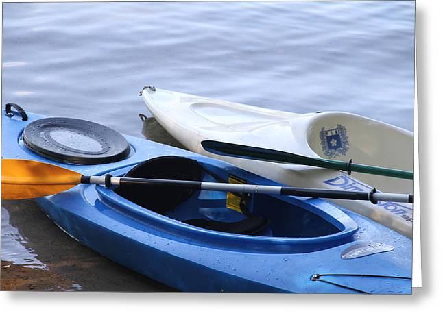 Kayak Mixed Media Greeting Cards - Kayaks 1 Greeting Card by Rebecca Powers