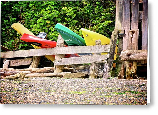 Kayak Greeting Cards - Kayaks At Rest 2 Greeting Card by Calvin Wray